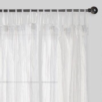 White Crinkle Sheer Voile Cotton Curtains, Set of 2